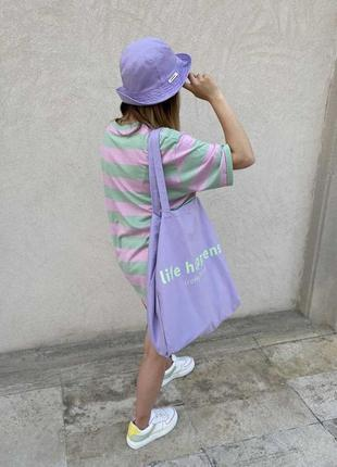 Тканевая сумка шопер, лиловая сумка-шопер, сумка-торба