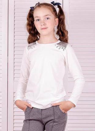Блуза для дівчаток шкільна, біла