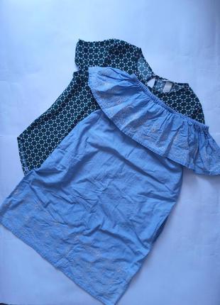 Платье сарафан вышивка спущенные плечи с карманами divided by h&m