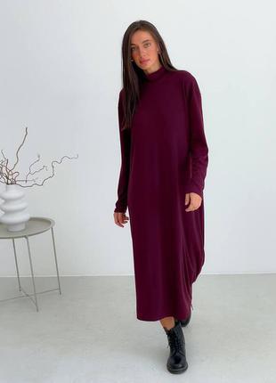 Коттоновое платье макси сливового цвета