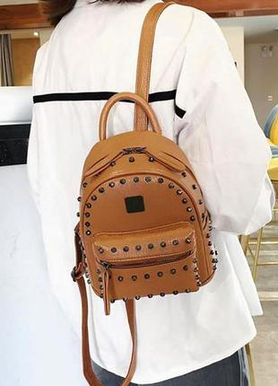 Качественный модный женский мини рюкзак aliri-00152 коричневый