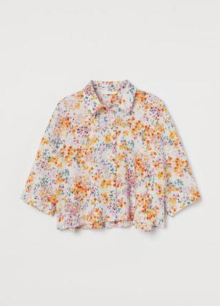 Блуза рубашка свободная h&m лён m, l, xl.