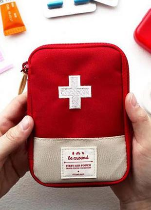 ☑️ дорожная аптечка аварийная сумочка косметичка красная кошелек красный крест