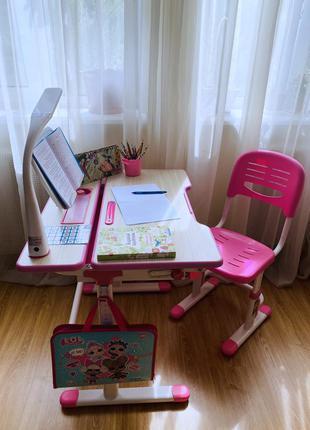 Fun desk - растущая парта + стул для школьника (италия) lavoro pink, + аксессуры
