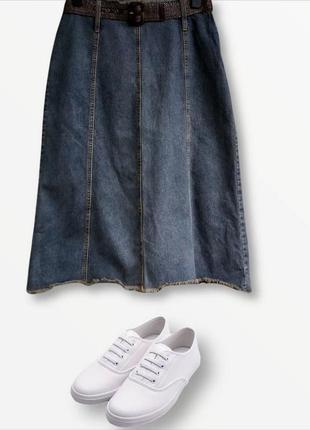 Стильная длинная джинсовая юбка