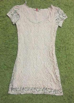 Розовое ажурное платье made by miso