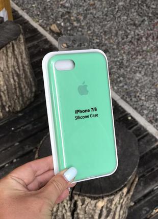 Силиконовый чехол для iphone 7 / 8 / se с микрофиброй , закрытый низ, ice blue, тиффани, бирюзовый
