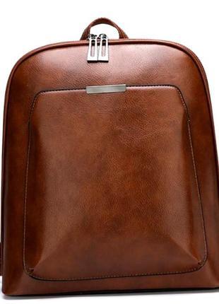 Женский стильный классический рюкзак aliri-00113 светло-коричневый