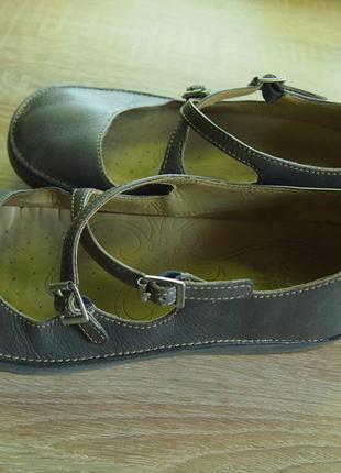 Женские туфли балетки clarks на танкетке, натуральная кожа