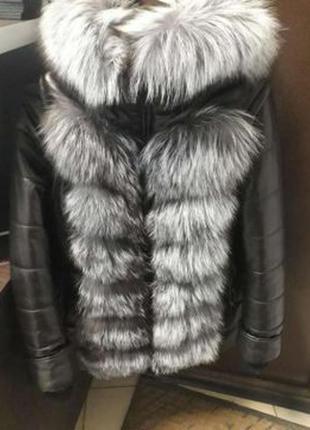 Куртка шанель с натуральным мехом