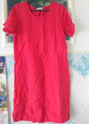 Красное льняное платье летнее bomont 100% лен италия