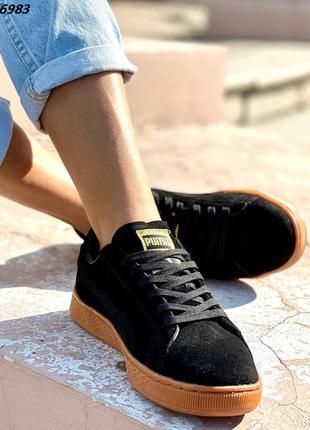 Женские черные кроссовки из натуральной замши 36 размера