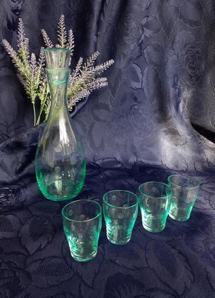 Графин и рюмки ссср циановое стекло морская волна советский винтаж штоф и стопки тонкое стекло в горошек