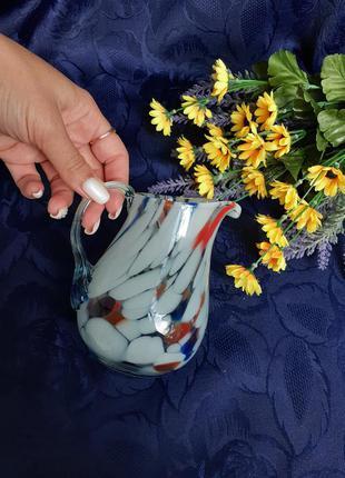 Кувшин маленький ссср завод красный май гутная техника литое разноцветное стекло советский винтаж