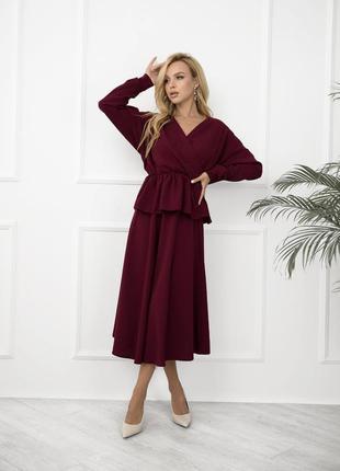 Костюм блуза с баской и юбка миди офисный нарядный демисезонный