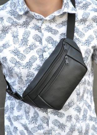 Кожаная бананка / натуральная кожа / сумка через плечо на пояс / клатч барсетка