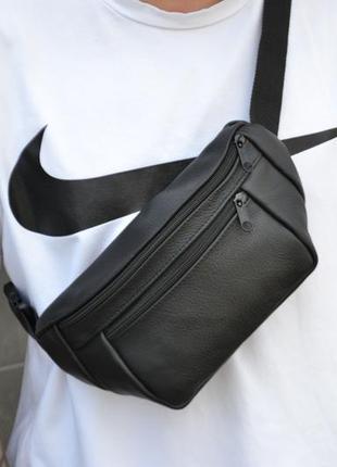 Кожаная сумка бананка / через плечо на пояс / натуральная кожа / барсетка клатч