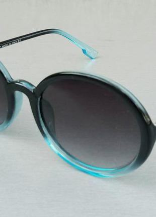 Christian dior очки женские солнцезащитные модные круглые черно голубые с градиентом