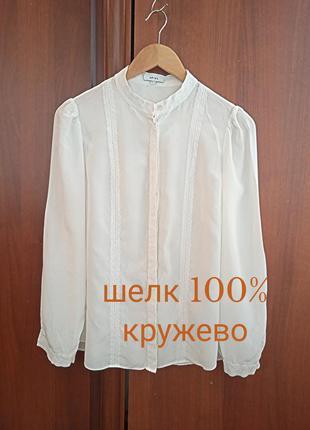 "Р.36 ""reiss"" шелковая блуза с натуральным хлопковым кружевом, шелк 100%"