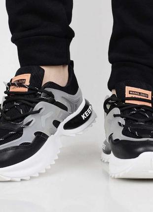 Качественная обувь, женские кроссовки, черно-серые