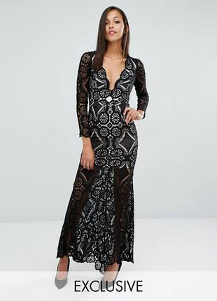 Новорічний розпродаж !!! кружевное платье макси с юбкой годе love triangle