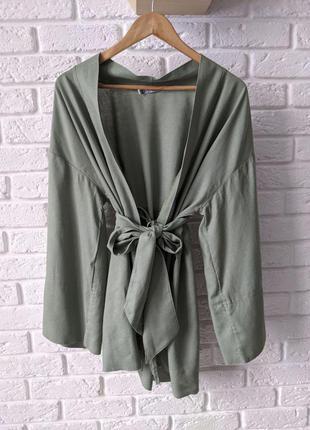 Платье кимоно халат лен цвет хаки 42-46