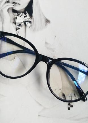 Имиджевые очки  круглые с  прозрачной линзой
