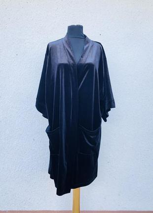 Шикарный чёрный бархатный халат.эффектный секси