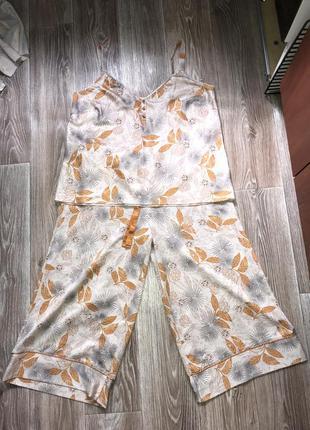 Костюм двойка майка бриджи кюлоты пижама батал большой размер джинсы юбка спальный костюм