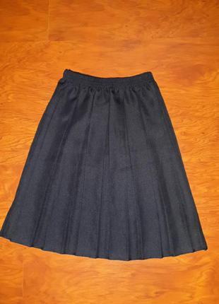 Юбка школьная темно-синяя в складку