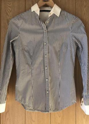 Zara рубашка в полоску классическая приталенная