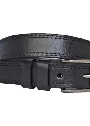 Ремень для мальчика кожаный детский черный прошитый с черной строчкой junior10