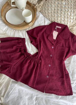 Бордовый повседневный костюм рубашка с шортами