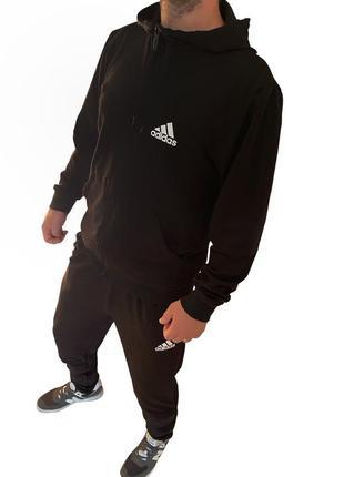 Спортивный костюм мужской черный без начеса adidas. турция