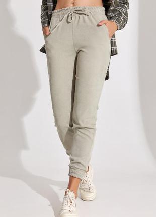 Вельветовые брюки цвета хаки на резинках, штаны джоггеры