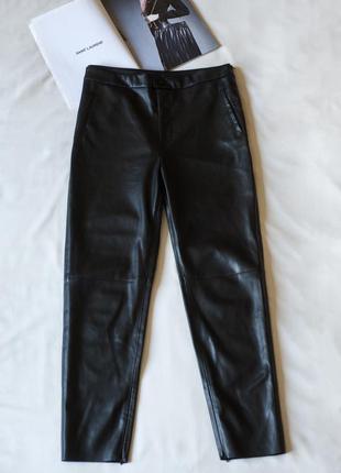 Черные кожаные леггинсы брюки женские zara, размер xl