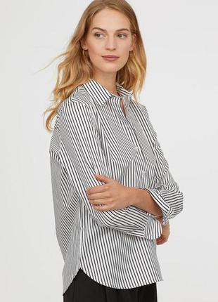 Хлопковая рубашка в полоску h&m