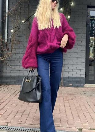 Женский вязаный объёмный свитер из мохера с косой пушистый 💜