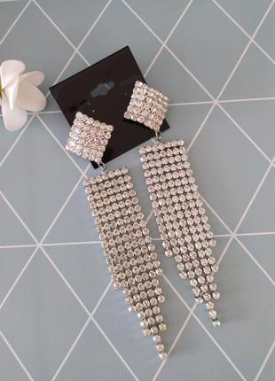 Нарядні сережки підвіски, серьги подвески с кристалами от asos