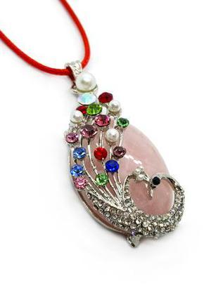 """✨🐦 праздничный нарядный кулон """"жар-птица"""" натуральный камень розовый кварц павлин"""