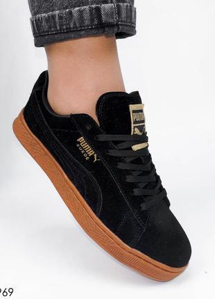 Натуральная замша, черные крутые женские кроссовки