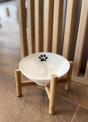 Миска керамічна на дерев'янихнiжках korea для собак та кішок