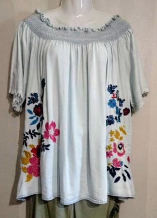 Шикарная блуза вышиванка лиоцел 💯