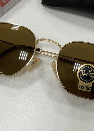 Ray ban солнцезащитные очки линзы минеральное стекло коричневые в золотистой оправе