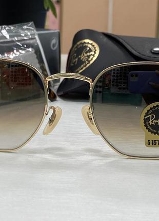 Ray ban солнцезащитные очки линзы стекло коричневые градиент в золотистой оправе