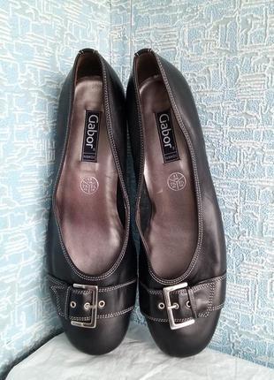 Кожаные туфли gabor. 41 размер маленький каблук рюмочку кошачья лапка