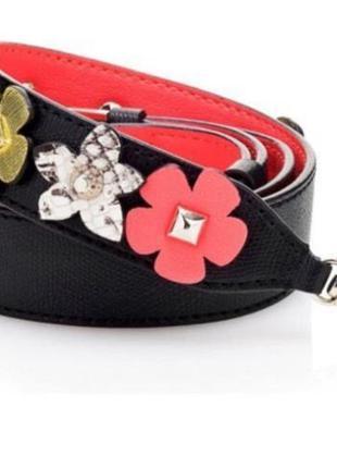Сменный чёрный яркий ремень ремешок для сумки с цветами guess