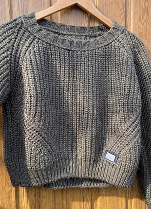 Укорочённый тёплый кроп свитер свитшот