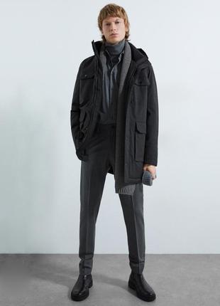 Куртка парка зара zara man мужская тёмно серая графитовая тёплая зимняя
