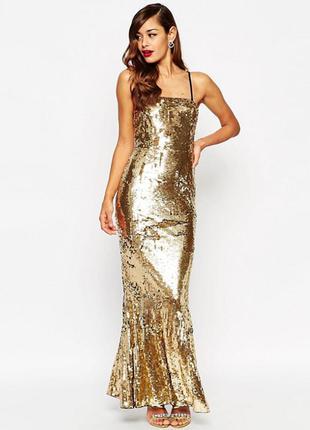 Новорічний розпродаж !!! платье-бандо с отделкой пайетками и юбкой-годе asos red carpet
